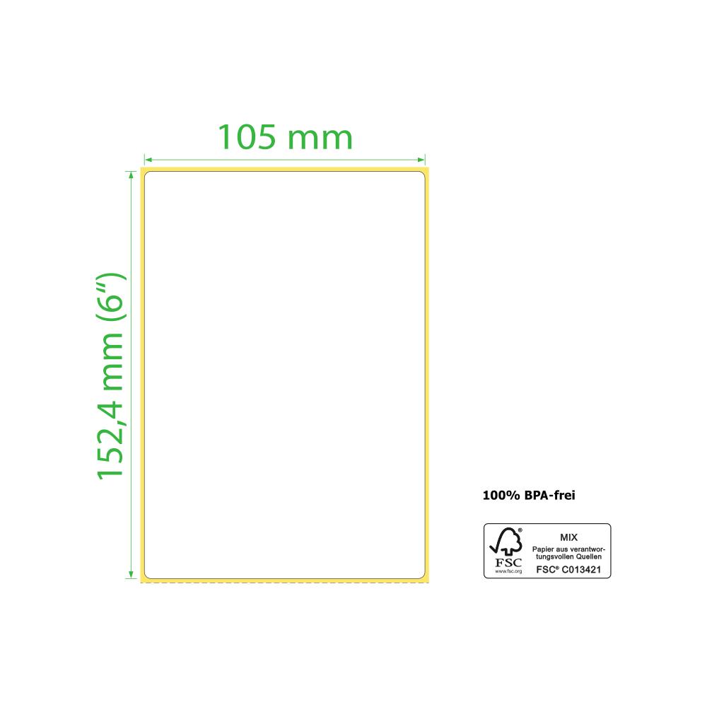 105 x 152,4 mm, Thermodirekt, Rolle, Kern 76mm, 1.250 Etiketten