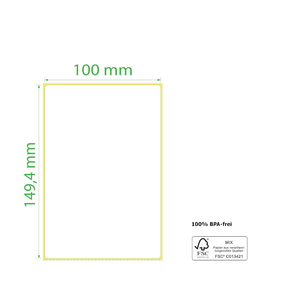 100 x 149,4 mm, Thermodirekt, Stapel, 2.000 Etiketten