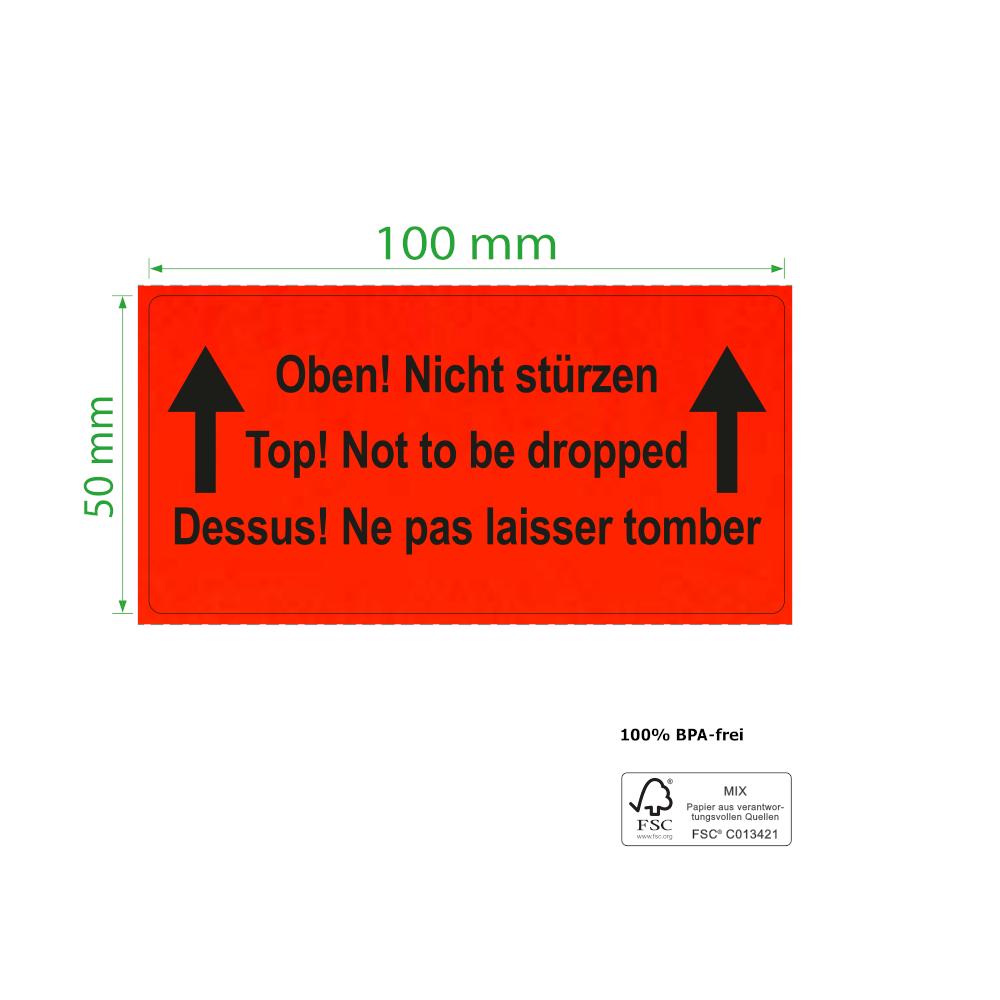 100 x 50 mm,  Paketkennzeichnung Oben! Nicht stürzen, Rolle, Kern 76 mm, 1.000 Etiketten