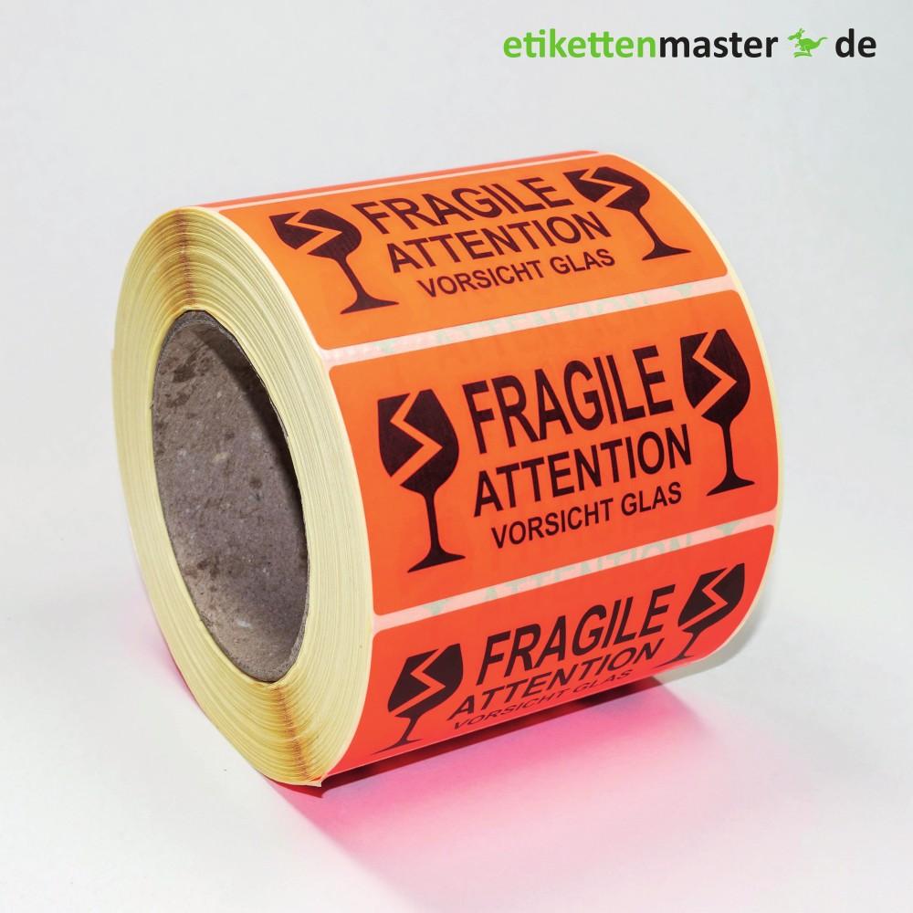 100 x 50 mm,  Paketkennzeichnung Fragile - Attention - Vorsicht Glas, Rolle, Kern 76 mm, 1.000 Etiketten