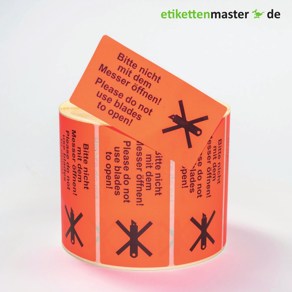100 x 50 mm,  Paketkennzeichnung Bitte nicht mit dem Messer öffnen!, Rolle, Kern 76 mm, 1.000 Etiketten