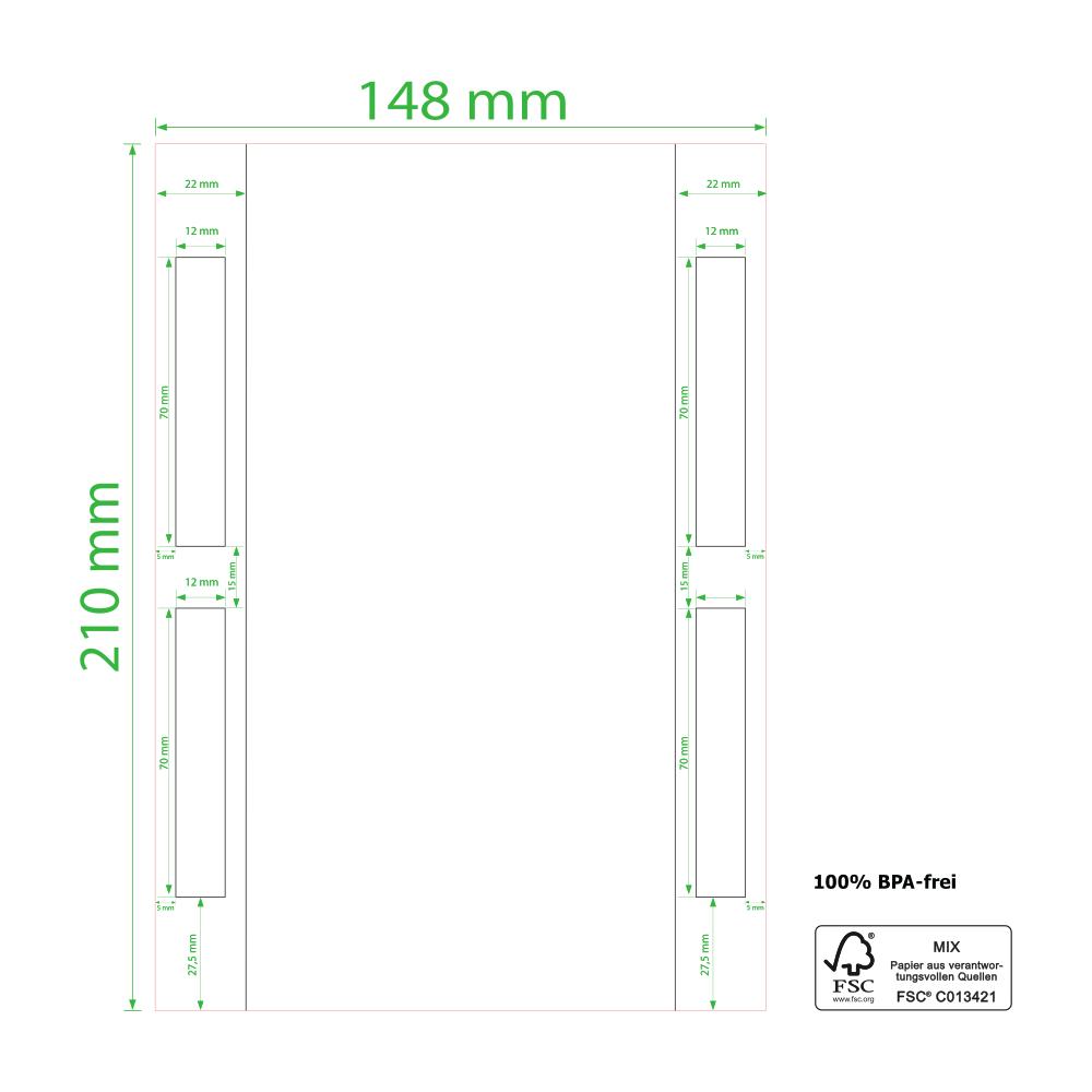 210 x 148 mm, Laser, Einzelblatt,  geslittet, 1.000 Etiketten