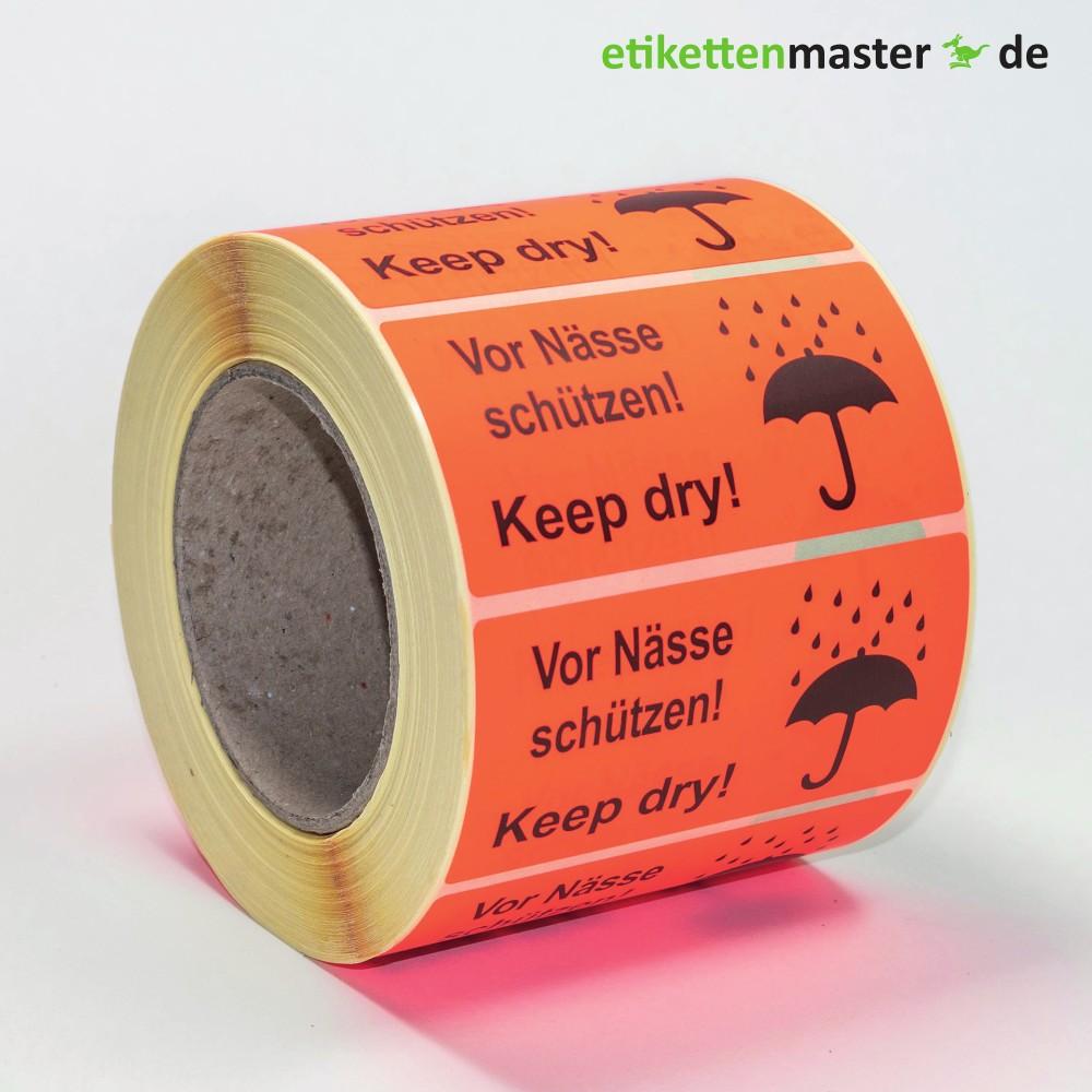 100 x 50 mm, Paketkennzeichnung, Vor Nässe schützen!, Kern 76 mm, 1.000 Etiketten