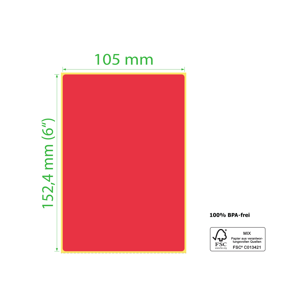105 x 152,4 mm, Thermodirekt, Rolle, rot, Kern 25,4 mm, 350 Etiketten